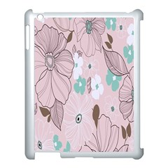 Background Texture Flowers Leaves Buds Apple Ipad 3/4 Case (white) by Simbadda