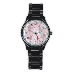 Background Texture Flowers Leaves Buds Stainless Steel Round Watch by Simbadda