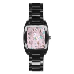 Background Texture Flowers Leaves Buds Stainless Steel Barrel Watch by Simbadda