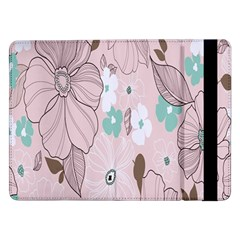 Background Texture Flowers Leaves Buds Samsung Galaxy Tab Pro 12 2  Flip Case by Simbadda