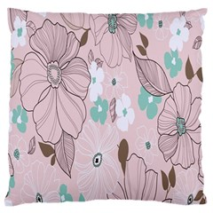 Background Texture Flowers Leaves Buds Large Flano Cushion Case (one Side) by Simbadda