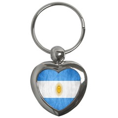 Argentina Texture Background Key Chains (heart)  by Simbadda
