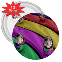 Balloons Colorful Rainbow Metal 3  Buttons (10 Pack)  by Simbadda