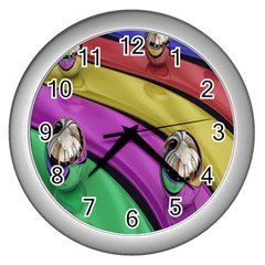 Balloons Colorful Rainbow Metal Wall Clocks (silver)  by Simbadda