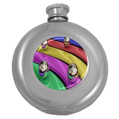 Balloons Colorful Rainbow Metal Round Hip Flask (5 Oz) by Simbadda