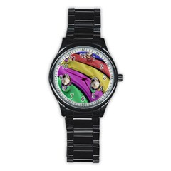Balloons Colorful Rainbow Metal Stainless Steel Round Watch