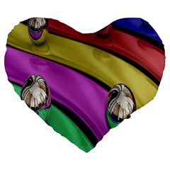 Balloons Colorful Rainbow Metal Large 19  Premium Flano Heart Shape Cushions by Simbadda