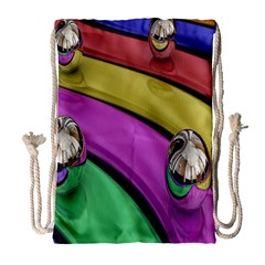 Balloons Colorful Rainbow Metal Drawstring Bag (large) by Simbadda