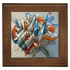 Abstraction Imagination City District Building Graffiti Framed Tiles by Simbadda