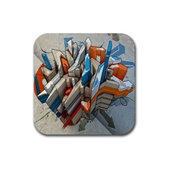 Abstraction Imagination City District Building Graffiti Rubber Square Coaster (4 Pack)  by Simbadda