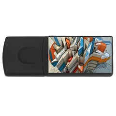Abstraction Imagination City District Building Graffiti Usb Flash Drive Rectangular (4 Gb) by Simbadda
