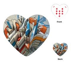 Abstraction Imagination City District Building Graffiti Playing Cards (heart)  by Simbadda
