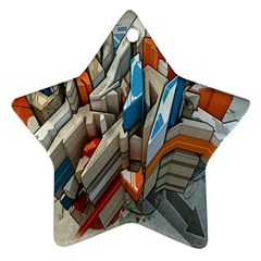 Abstraction Imagination City District Building Graffiti Star Ornament (two Sides) by Simbadda