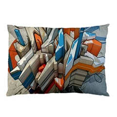 Abstraction Imagination City District Building Graffiti Pillow Case by Simbadda