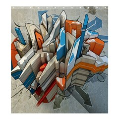 Abstraction Imagination City District Building Graffiti Shower Curtain 66  X 72  (large)  by Simbadda