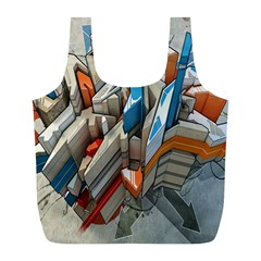 Abstraction Imagination City District Building Graffiti Full Print Recycle Bags (l)  by Simbadda