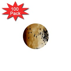 Birds Sky Planet Moon Shadow 1  Mini Buttons (100 Pack)  by Simbadda