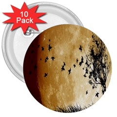 Birds Sky Planet Moon Shadow 3  Buttons (10 Pack)  by Simbadda