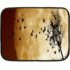 Birds Sky Planet Moon Shadow Double Sided Fleece Blanket (mini)  by Simbadda
