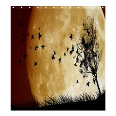 Birds Sky Planet Moon Shadow Shower Curtain 66  X 72  (large)  by Simbadda