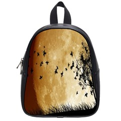Birds Sky Planet Moon Shadow School Bags (small)  by Simbadda