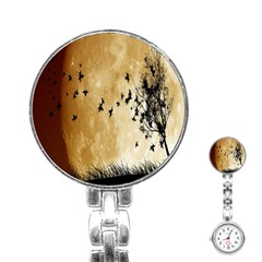 Birds Sky Planet Moon Shadow Stainless Steel Nurses Watch by Simbadda