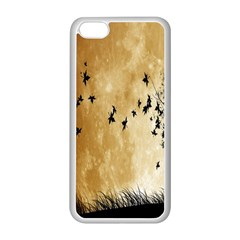 Birds Sky Planet Moon Shadow Apple Iphone 5c Seamless Case (white)