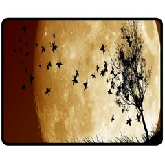 Birds Sky Planet Moon Shadow Double Sided Fleece Blanket (medium)