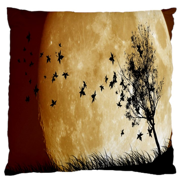Birds Sky Planet Moon Shadow Standard Flano Cushion Case (Two Sides)