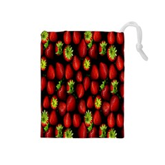 Berry Strawberry Many Drawstring Pouches (medium)  by Simbadda