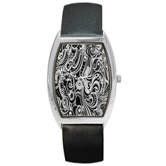 Black White Pattern Shape Patterns Barrel Style Metal Watch by Simbadda