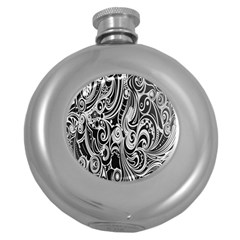 Black White Pattern Shape Patterns Round Hip Flask (5 Oz) by Simbadda