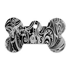 Black White Pattern Shape Patterns Dog Tag Bone (one Side) by Simbadda