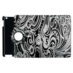 Black White Pattern Shape Patterns Apple Ipad 3/4 Flip 360 Case by Simbadda