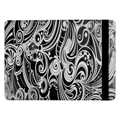 Black White Pattern Shape Patterns Samsung Galaxy Tab Pro 12 2  Flip Case by Simbadda