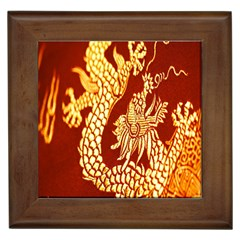 Fabric Pattern Dragon Embroidery Texture Framed Tiles by Simbadda