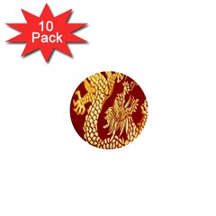 Fabric Pattern Dragon Embroidery Texture 1  Mini Buttons (10 Pack)  by Simbadda