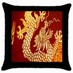 Fabric Pattern Dragon Embroidery Texture Throw Pillow Case (black) by Simbadda
