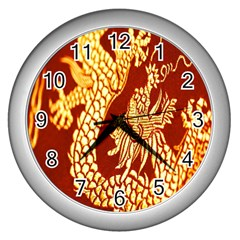 Fabric Pattern Dragon Embroidery Texture Wall Clocks (silver)