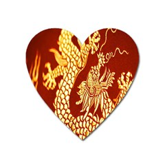 Fabric Pattern Dragon Embroidery Texture Heart Magnet by Simbadda