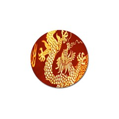 Fabric Pattern Dragon Embroidery Texture Golf Ball Marker (4 Pack) by Simbadda