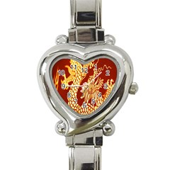 Fabric Pattern Dragon Embroidery Texture Heart Italian Charm Watch by Simbadda