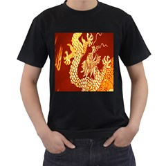 Fabric Pattern Dragon Embroidery Texture Men s T Shirt (black) (two Sided) by Simbadda