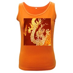 Fabric Pattern Dragon Embroidery Texture Women s Dark Tank Top by Simbadda