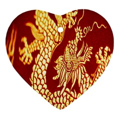 Fabric Pattern Dragon Embroidery Texture Heart Ornament (two Sides)