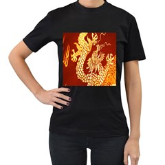Fabric Pattern Dragon Embroidery Texture Women s T Shirt (black)