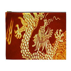 Fabric Pattern Dragon Embroidery Texture Cosmetic Bag (xl) by Simbadda