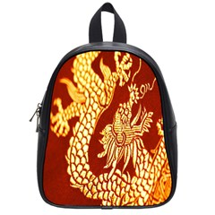 Fabric Pattern Dragon Embroidery Texture School Bags (small)  by Simbadda