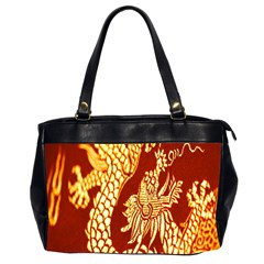 Fabric Pattern Dragon Embroidery Texture Office Handbags (2 Sides)  by Simbadda