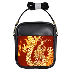 Fabric Pattern Dragon Embroidery Texture Girls Sling Bags by Simbadda
